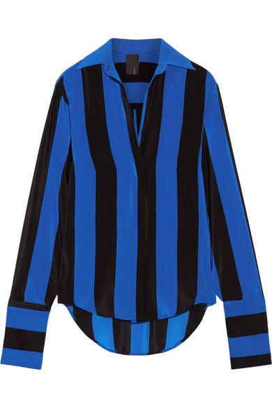 Juan Carlos Obando - Striped Silk Crepe De Chine Blouse - Bright blue