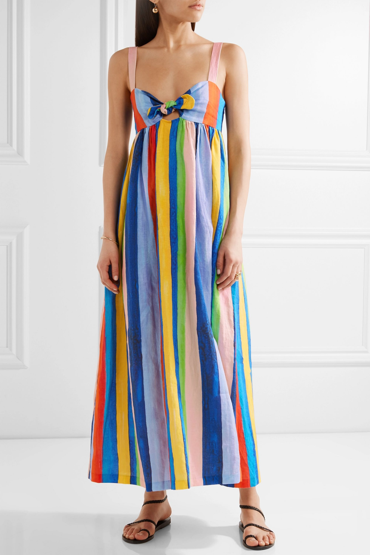 Mara Hoffman Tie-front striped organic linen maxi dress