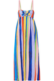 Mara Hoffman Tie-front striped organic linen maxi dress