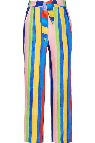 Mara Hoffman - Striped Organic Linen Wide-leg Pants - Blue