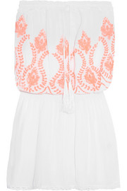 Fruley crochet-trimmed embroidered voile dress