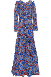 Dodo Bar Or Elvis ruffled paisley-print silk-crepe maxi dress
