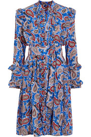 Jaeger ruffled paisley-print silk dress