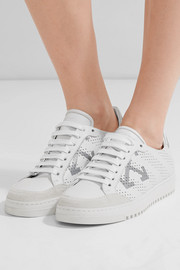 Perforated printed leather sneakers