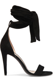 Bow suede sandals