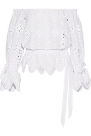 Miguelina Aurelia off-the-shoulder broderie anglaise cotton top