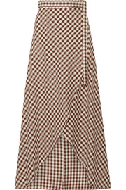 Gingham cotton wrap maxi skirt