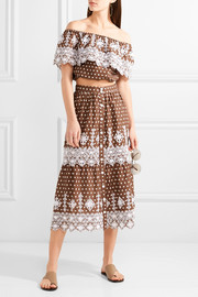 Carolina polka-dot broderie anglaise cotton midi skirt