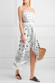 Miguelina Ines cutout printed cotton midi dress