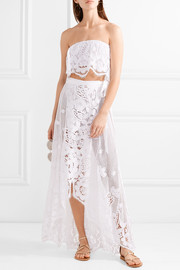 Valencia crocheted cotton-lace wrap maxi skirt