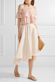 Miguelina Angelica off-the-shoulder layered cotton-lace top