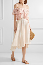 Gale asymmetric linen midi skirt