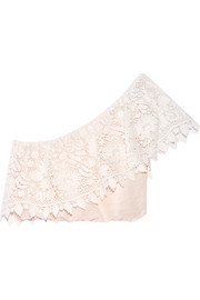 Miguelina Doris cropped crocheted cotton-lace and linen top