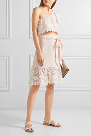 Miguelina Carlene crocheted cotton-lace and linen skirt