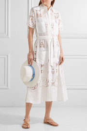 Berly broderie anglaise cotton and linen midi dress