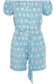 Miguelina Magda broderie anglaise ginham cotton playsuit