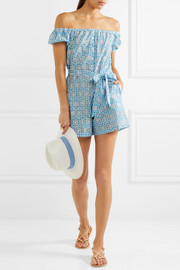 Magda broderie anglaise ginham cotton playsuit