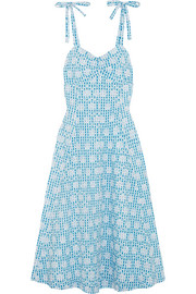 Miguelina Mina broderie anglaise gingham cotton midi dress