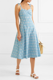 Mina broderie anglaise gingham cotton midi dress