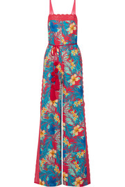 Miguelina Electra lace-trimmed printed linen jumpsuit
