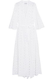 Lucinda gauze-paneled broderie anglaise cotton-voile maxi dress