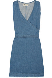Frayed cotton and linen-blend wrap mini dress
