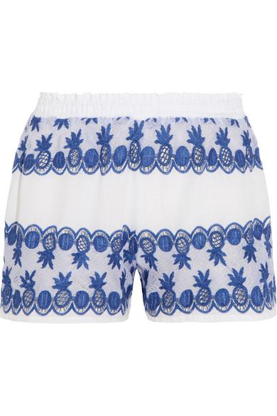 Paula Gauze-Paneled Broderie Anglaise Cotton-Voile Shorts, White