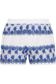 Paula gauze-paneled broderie anglaise cotton-voile shorts