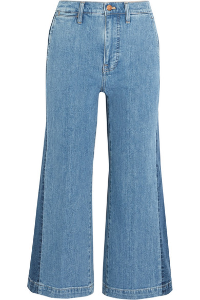 Cropped Striped Wide-leg Jeans - Blue Madewell He2BUrCm