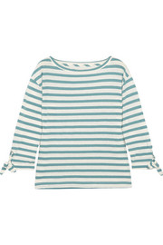 Marisol striped slub cotton and linen-blend top