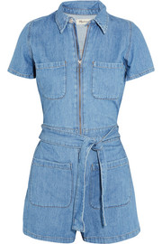 Cotton and linen-blend playsuit
