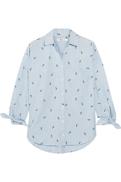 Madewell - Shrunken Trapeze Printed Cotton-chambray Shirt - Navy