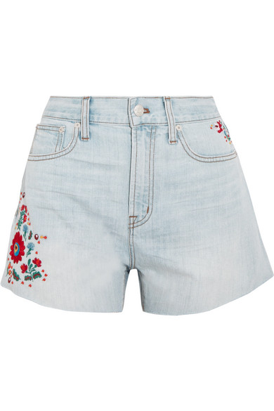Madewell - The Perfect Embroidered Denim Shorts - Light denim