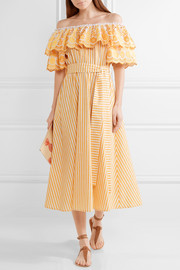 Off-the-shoulder ruffled cotton and linen-blend dress