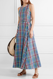 Belted checked cotton and linen-blend midi dress