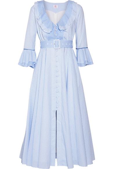 Gül Hürgel - Ruffle-trimmed Printed Cotton Midi Dress - Light blue