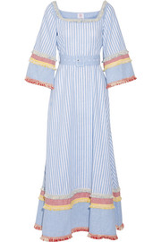 Fringed printed cotton and linen-blend maxi dress
