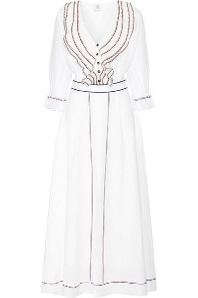 Gül Hürgel - Ruffled Embroidered Linen Midi Dress - White