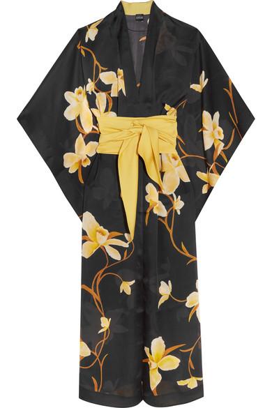 Carine Gilson - Printed Silk-chiffon Kimono - Black