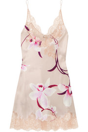 Carine Gilson Lace-trimmed floral-print silk-satin chemise