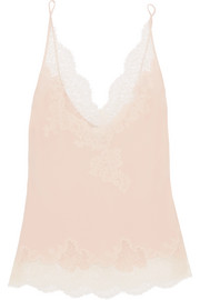 Carine Gilson Lace-trimmed silk-crepe camisole