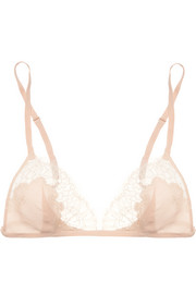 Lace-trimmed stretch-silk crepe soft-cup triangle bra