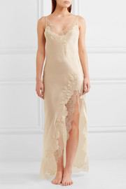 Carine Gilson Appliquéd Chantilly lace-trimmed silk-satin nightdress