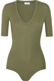 Bedford ribbed stretch-jersey bodysuit