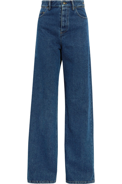 Y/PROJECT - Cutout High-rise Wide-leg Jeans - Dark denim