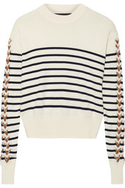 Velvet-trimmed striped merino wool sweater