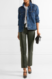 Tie-front leather straight-leg pants