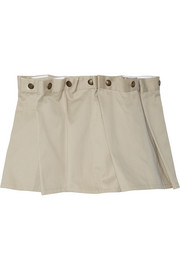 Gathered cotton-twill mini skirt