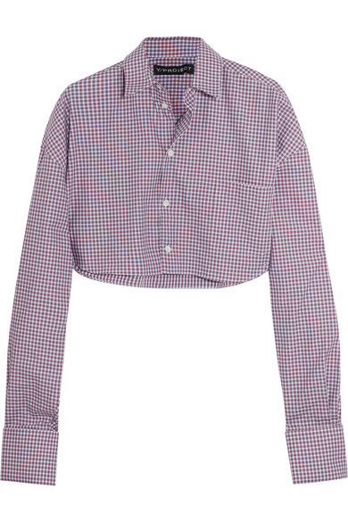 Y/PROJECT - Cropped Checked Cotton-poplin Shirt - Blue