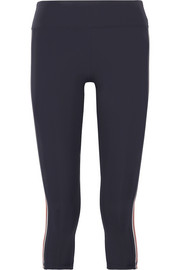Cropped striped stretch-Tactel® leggings